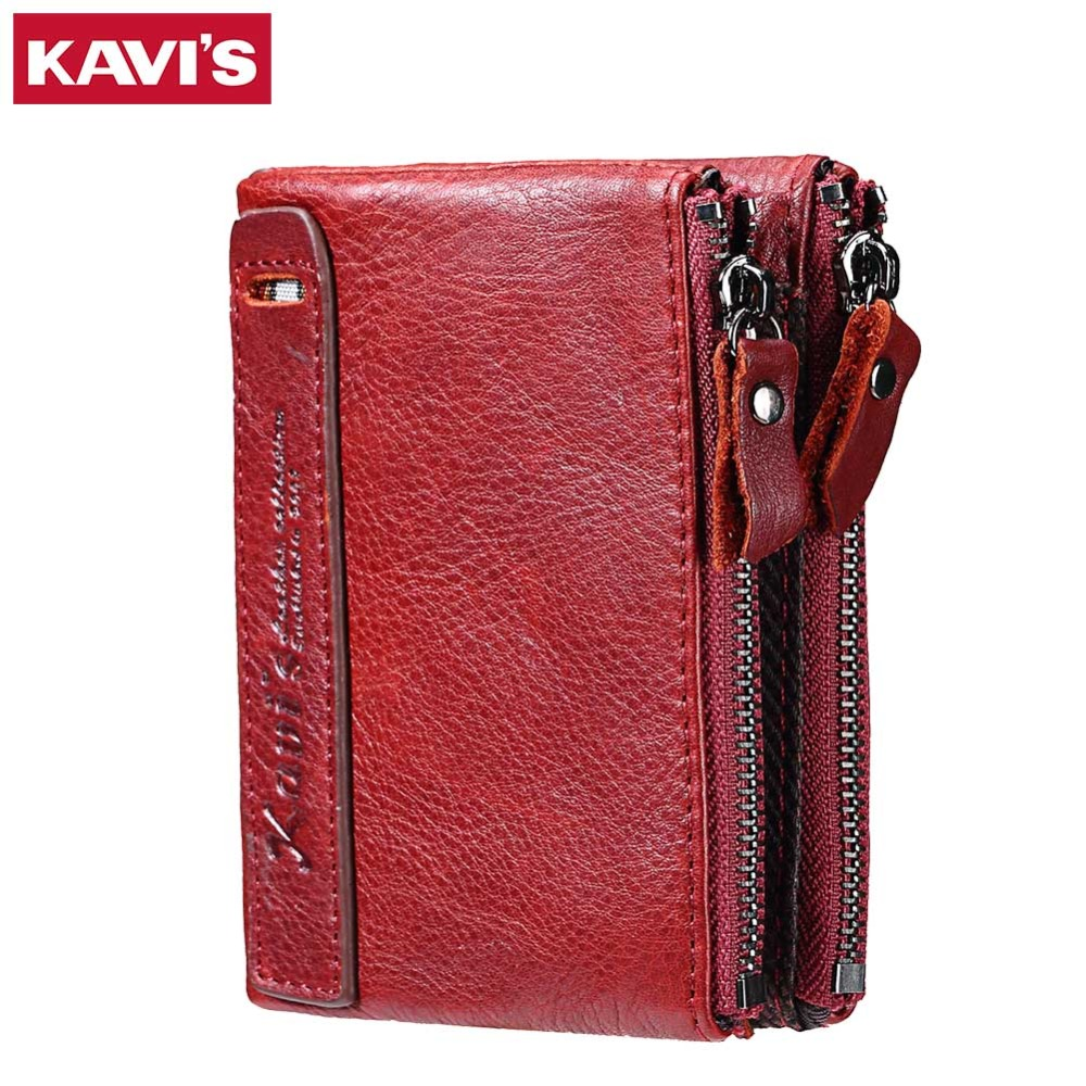 nuevo estilo 35374 a31fa € 12.84 48% de DESCUENTO|KAVIS cuero genuino 2018 moda pequeña billetera  mujer monedero mujeres cartera Mini Portomonee señora marca de lujo Rfid  rojo ...