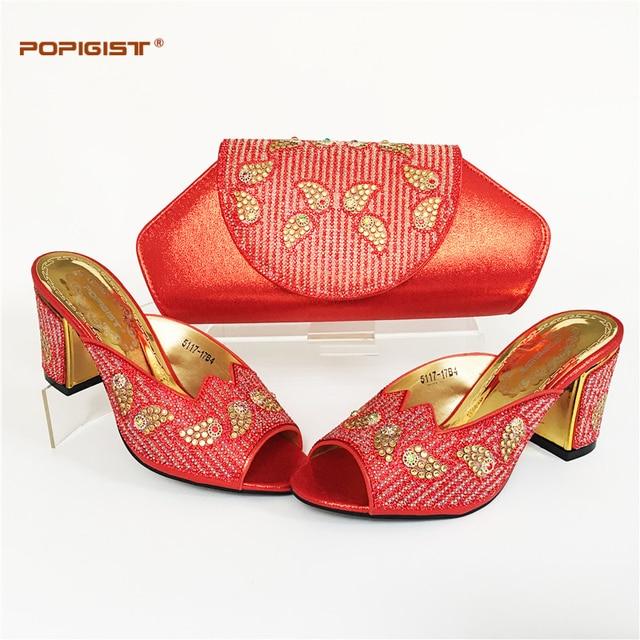 Schuhe und Tasche Set Afrikanischen Sets 2017 Rot Farbe Afrikanische schuhe  und Passende Taschen Italienische Hochzeit 5138b566bd