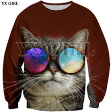 YX Girl Women Men 3d Animal Sweatshirt Glasses Cat Printing Jersey Tracksuit Spring Autumn Long Sleeve O-neck Pullover