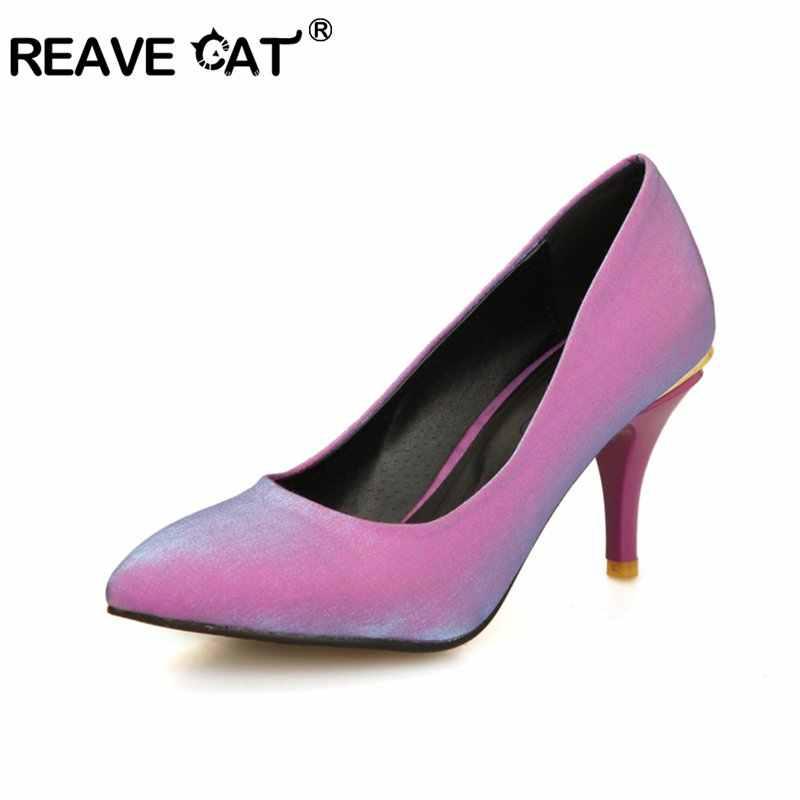 REAVE CAT/весенне-летняя обувь; большие размеры 45, 46, 48; женские туфли-лодочки; женские атласные туфли на высоком каблуке-шпильке; блестящие пикантные вечерние туфли