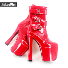 jialuowei Extreme High heels 20cm Women Platform Buckle Zipper Square heel Sapatos femininos Round Toe Mid-Calf Leather boots стоимость