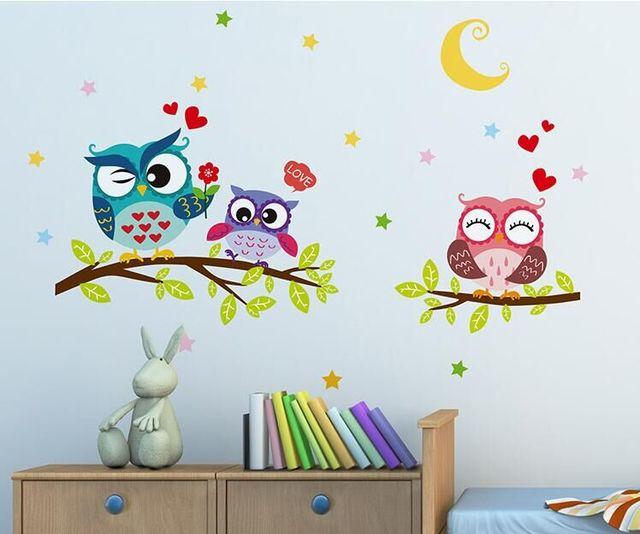 NEW Night Owl Creative Infantile Wall Art Bird Animal Home Decoration Accessories for Kids Room Kindergarten Decor Wall Stickers