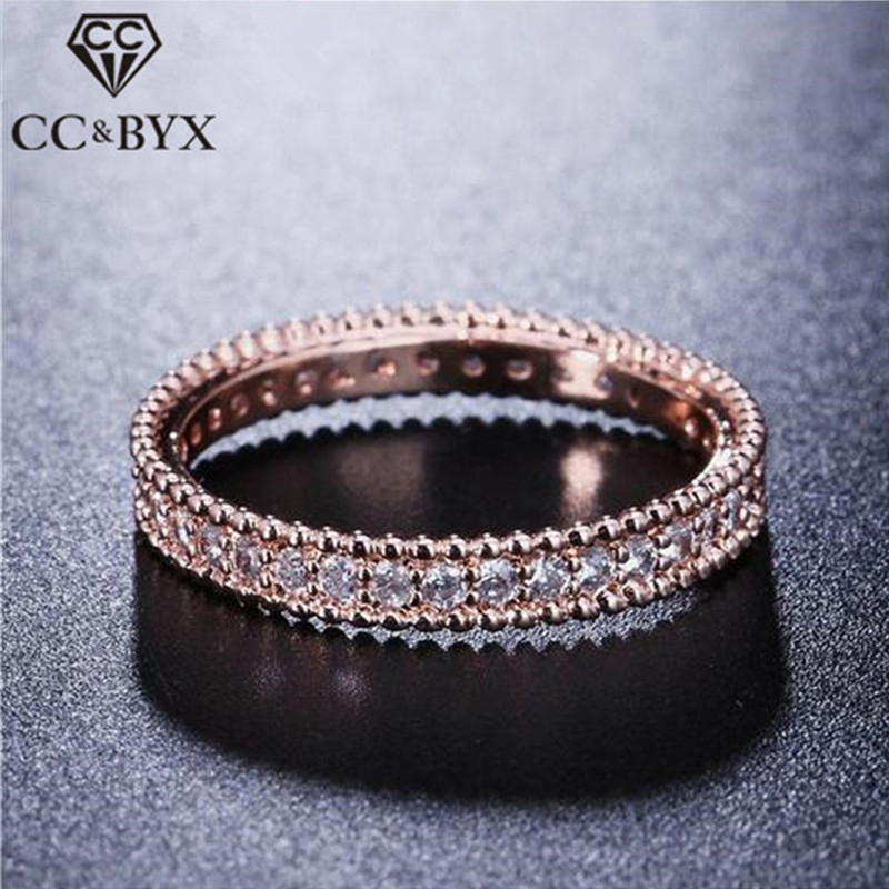 Full Crytal Ring Rose Gold color Simple Classic Wedding & Engagement Rings for Women Made With AAA CZ CC197