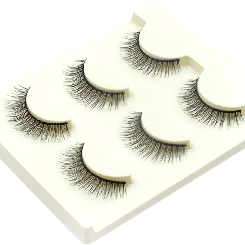 3Pairs False Eyelashes Cross Thick Natural Eye Lashes Black cilios extension Eyelashes Handmade Long Makeup Eyelashes