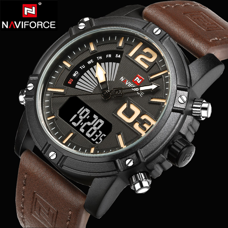 где купить  NAVIFORCE Watches Men Luxury Brand Quartz Analog Digital Leather Clock Man Sports Watches Army Military Watch Relogio Masculino  по лучшей цене