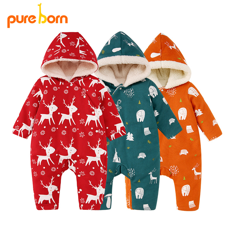 Pureborn New Year's Costume for Baby Boy Girl Children Winter Thick Warm Overalls Newborn   Romper   Baby Clothes Christmas Jumpsuit