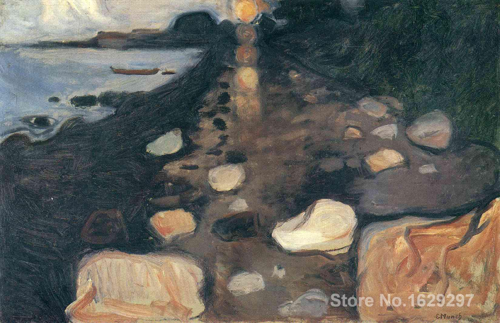 Painting by Edvard Munch art Moonlight on the Shore High Quality Hand paintedPainting by Edvard Munch art Moonlight on the Shore High Quality Hand painted