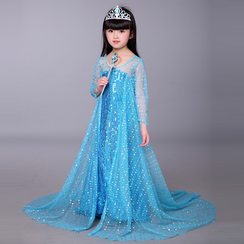 Europe Children's Clothes Long Gown Evening Dress Kids Cute Costumes 2018 Princess Dresses Girls girls clothes sets fashion europe the united states style princess suede tassel horse clip long sleeved dress kids clothes