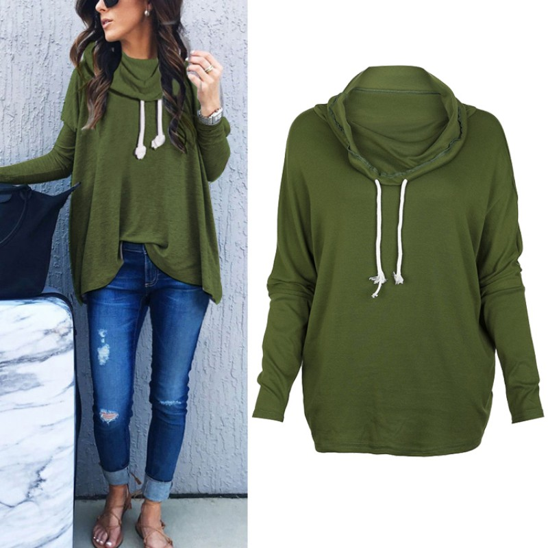 Autumn Women Swearshirts Casual Long Sleeve Solid Hoodies Pullover Sweatshirt Women Tops ...