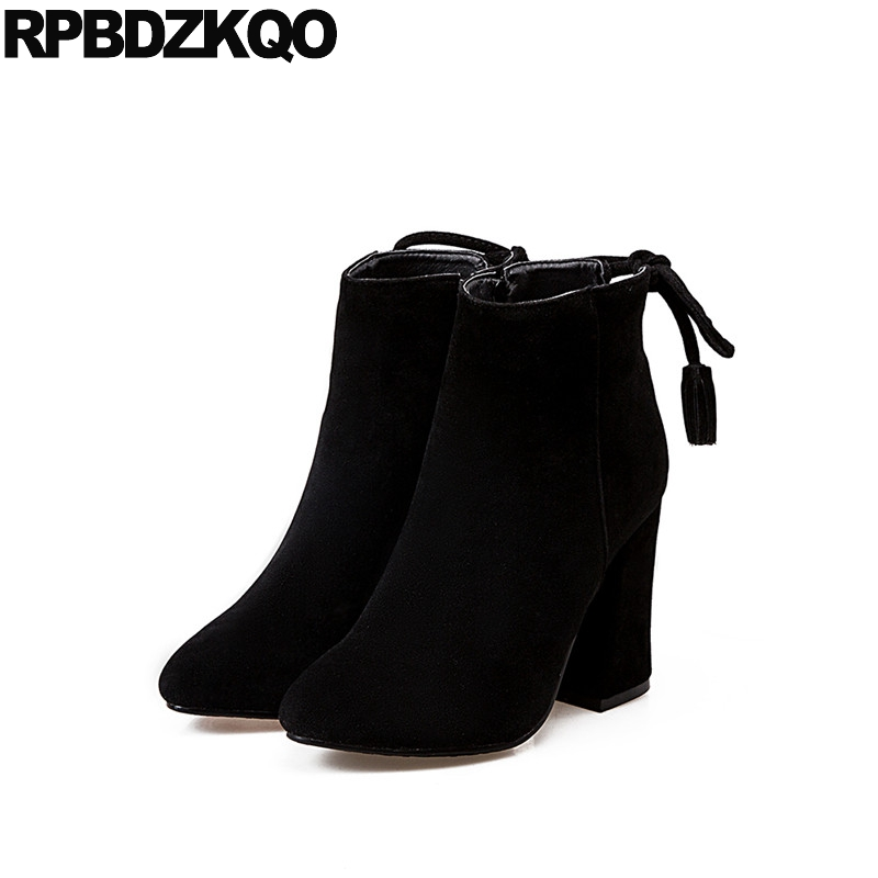 Side Zip Boots Suede Shoes Elegant Winter Pointed Toe Fur Fall Short Vintage Ankle Fringe Black Chunky Chinese Female New 2017 women irresistible suede color patchwork ankle boots round toe chunky heels classic side zip short boots new arrival this year