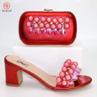 Italian Shoes and Bag Sets Slippers African Women Shoes and Bag Set In Italy Matching Shoes and Bag Set Decorated with Crystal