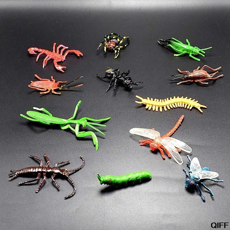12Pcs Insetto Modelli di Plastica Scarafaggio Scherzo Gag di Plastica Bugs Halloween Gadget Giocattolo Educativo