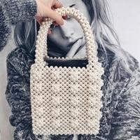 Handmade Pearl Lady Luxury Handbags Small Flap Evening Bag Fashion Vintage Female Top Handle Purse Chic