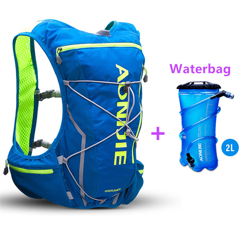 AONIJIE Hydration Water Backpack Running Vest Pack 10L Nylon Sport Bag Hiking Camping Bicycling+Waterbag+Water Bottle (Optional) 10l professional hydration bag bicycle backpack for men road packsack rucksack vest bag hydration pack women s shoulder bags 508