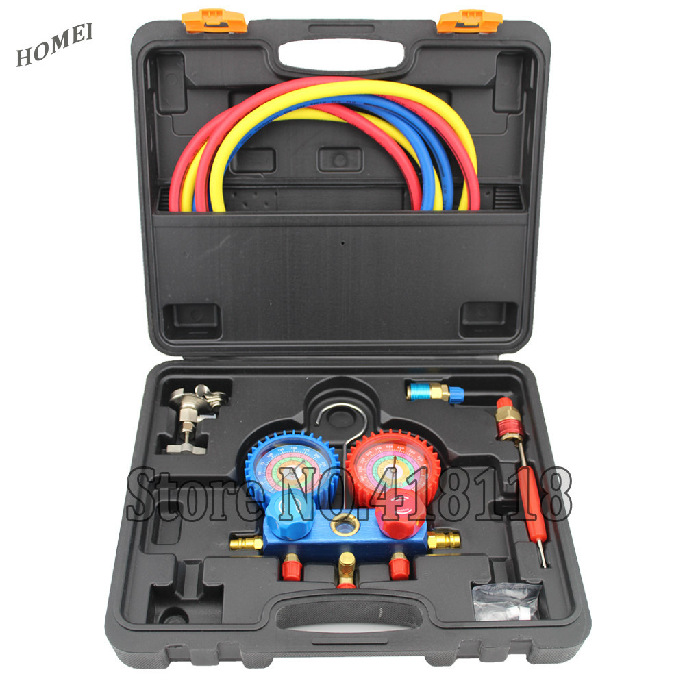 Household Refrigeration Air Conditioning Manifold Gauge Maintenence font b Tools b font Car Set With Carrying