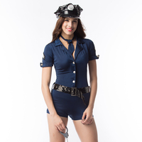 Sexy Police Women Costume Cop Outfits Adult Woman Policemen Cosplay Policewoman Romper Fancy Dress Halloween Costume