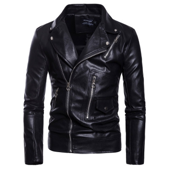 Gothic Faux leather jacket Long Sleeve Stand Collar Slim Shirt Casual