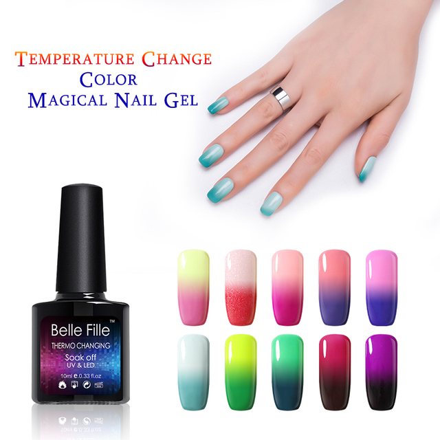 Belle Fille Thermo Color Change Nail Gel Soak Off Gel Polish Lacquer Salon Professional Nail Art Vernis Semi Permanent