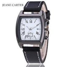 Мужские часы с прямоугольным циферблатом, модные кожаные военные кварцевые наручные часы с датой для мужчин, деловые часы Erkek Kol Saati Reloj