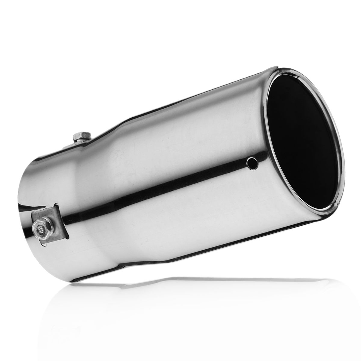 Inlet-70mm Outlet-75mm Car Tail Exhaust Pipe Chrome End Trim Stainless Steel Muffler Universal