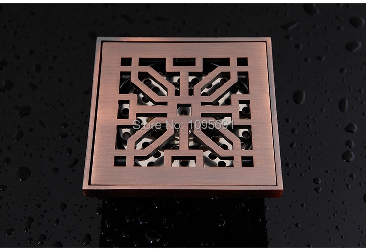 ФОТО European style advanced 3 inch 100mm*100mm solid brass fittings antique brass Floor drain