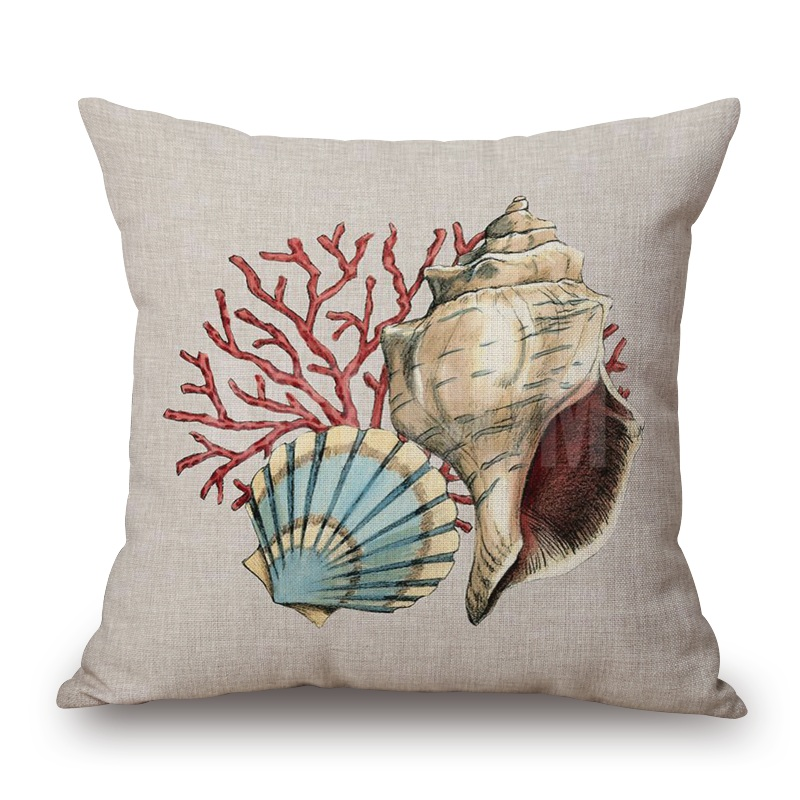 red coral cushion covers sea shell starfish pillow cases 4 styles 45x45cm thin linen cotton bedroom