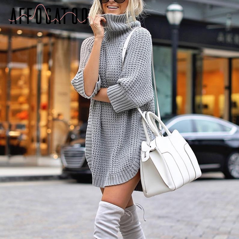 Affogatoo Casual Autumn Turtleneck Knitted Pullover Women High Split Half Sleeve Winter Sweater Jumper Ladies Femenino Jumpers