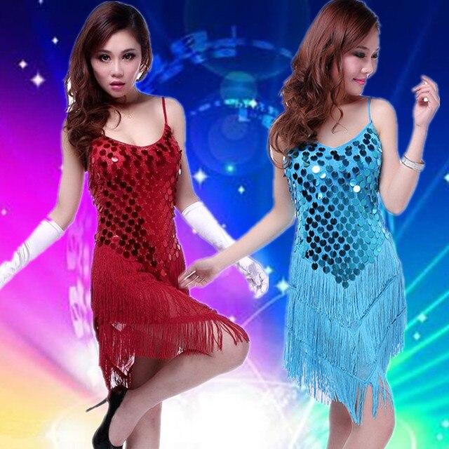 fe949fd8d898 Sequins Tassel Latin Dance Dress Professional Latin Dress Samba Latin Salsa  Dresses Costumes Clothes Women Dancing Dress LD007