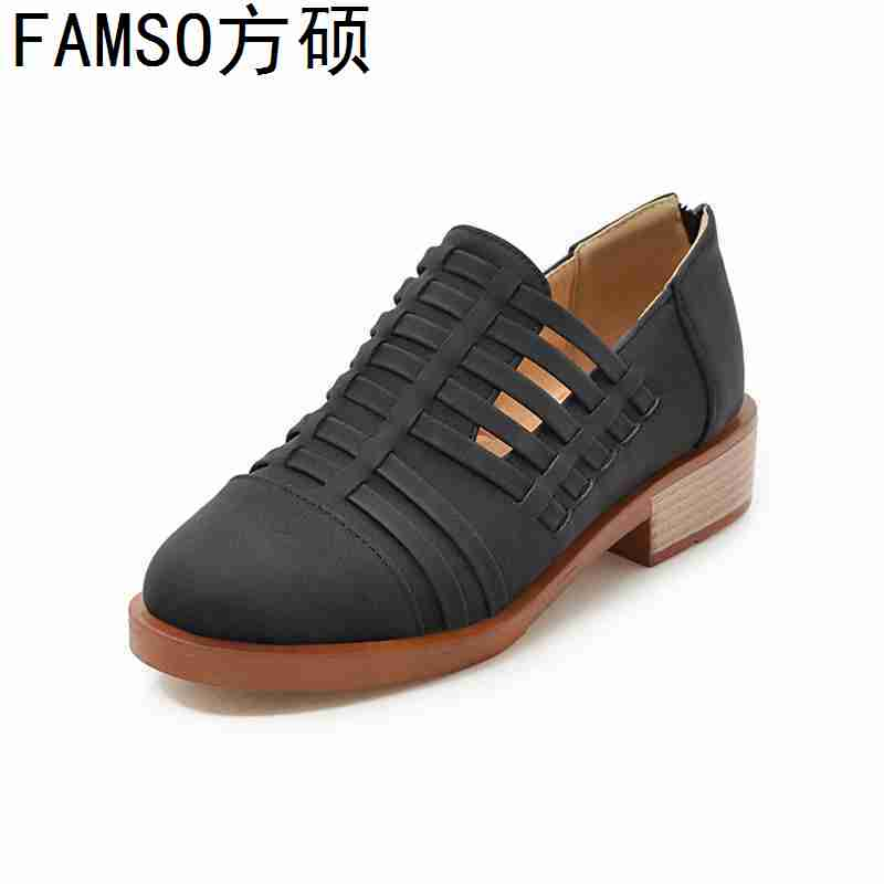 FAMSO 2019 New Fashion Women Shoes Round Toe Cut outs Shallow Square Heels Platforms Casual Outside
