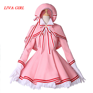Liva girl Аниме карточка Captor KINOMOTO Сакура прозрачная карточка Косплей Костюм женское розовое милое платье косплей наряды