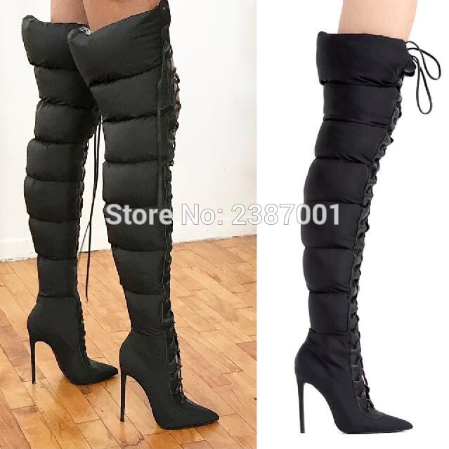 436f65b66a4 Trendy Design Lace Up Puffer Boots Sexy Stiletto Heel Pointy Thigh ...