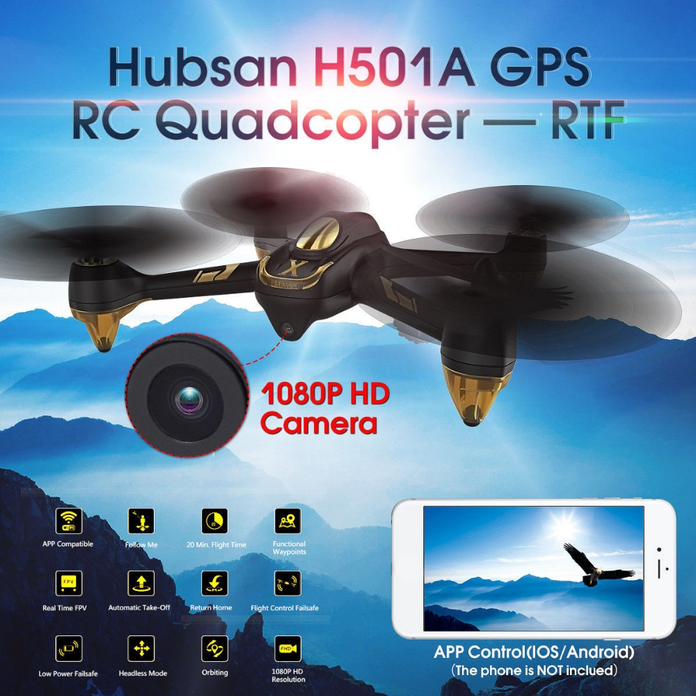 Hubsan H501A X4 WIFI Brushless FPV APP Compatible RC Headless Quadcopter Drone with 1080P HD Camera GPS Waypoint Live Video RTF hubsan h501m x4 waypoint brushless motor gps wifi fpv w 720p hd camera altitude hold headless mode app rc drone quadcopter rtf