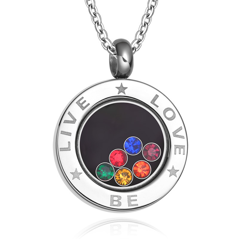 Trendy LGBT Rainbow Pendant Necklace for Women Lesbian Shiny Crystal Stainless Steel Necklace Jewelry