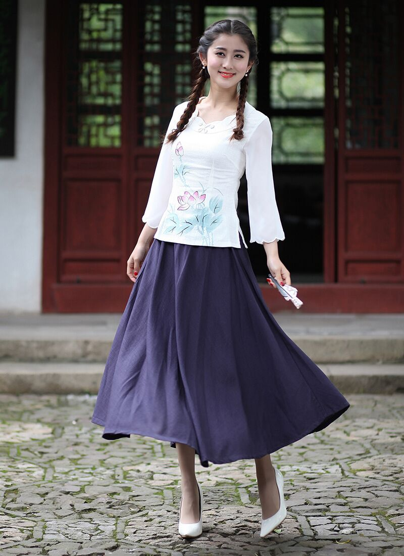 New Arrival White Chinese Women's Shirt Skirts Sets Cotton Linen Tang Suit Clothing Size S M L XL XXL XXXL 2616-1A