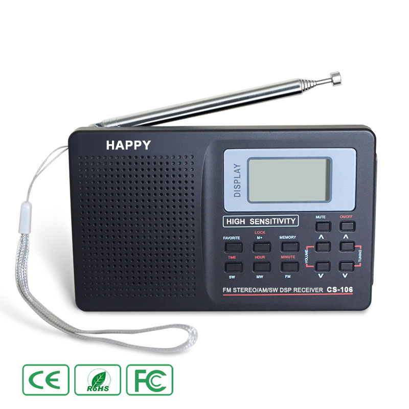 Black Full Band Radio Digital FM AM SW MW LW World Band Stereo Radio Digital Receiver Demodulator TV Sound External Antenna old version degen de1103 1 0 ssb pll fm stereo sw mw lw dual conversion digital world band radio receiver de 1103 free shipping