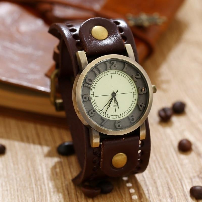GNOVA Top Quality Genuine Leather Bracelet Watch Women Mens Wristwatch Retro Vintage Fashion Geneva Style