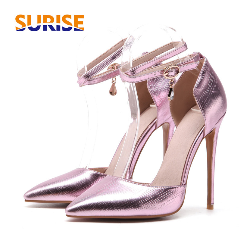 Big Size 12cm High Heel Women Pumps Pointed Toe Metalic Puwedding