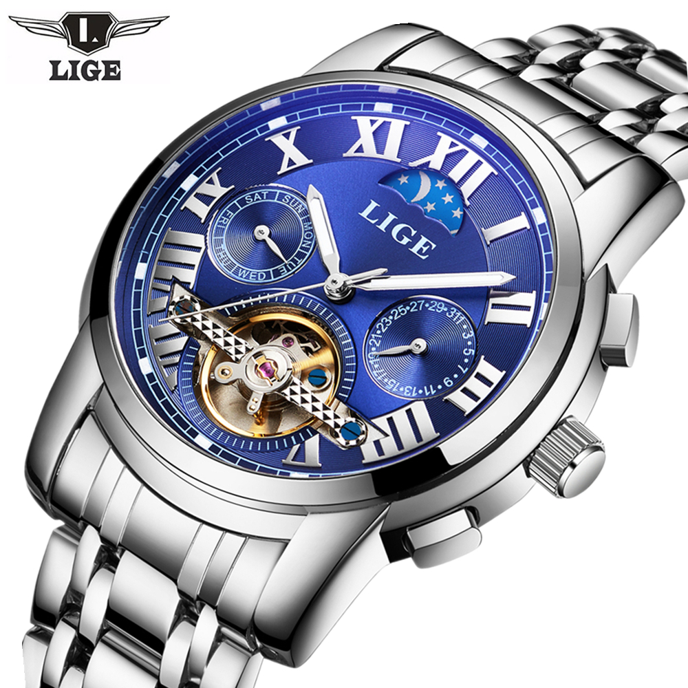 LIGE Mens Moon Phase Tourbillon Mechanical Watches Men Top Brand Luxury Full Steel Dive Watch Man Business Automatic Watches goer watch men full steel automatic mechanical watches men moon phase tourbillon watch men s mechanical watch relogio masculino