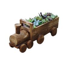Caioffer Vintage Wooden Flower Pots Cartoon Train Shape Succulents Bonsai Tools Decorative For Garden Home CJ001