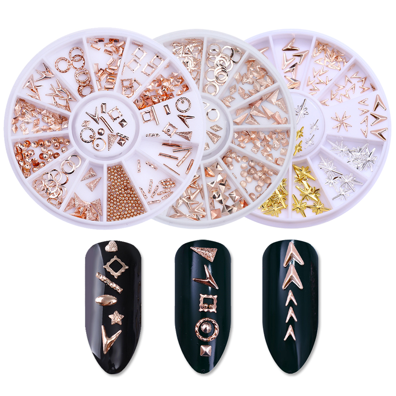 1 Box Rose Gold Mix Rivet Nail Studs Bead Circle Round Square Triangle 3D Nail Art Decoration Wheel 1 box rivet laser 3d nail decoration 4mm square nail studs manicure nail art decoration wheel