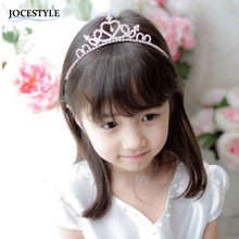 Crystal Tiara Crown Hair Accessories for Kid Girl Flower Children hair jewelry Silver Color coroa Wedding Decoration