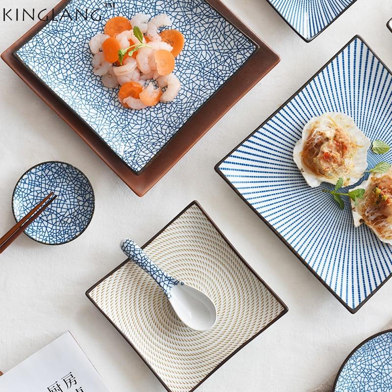 Japanese Ceramic Square Shape Dinner Dish Plate Crockery Fac