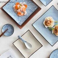 Japonés De Cerámica forma cuadrada cena plato Vajilla fábrica al por mayor vajilla de cerámica Azul y Blanco de porcelana