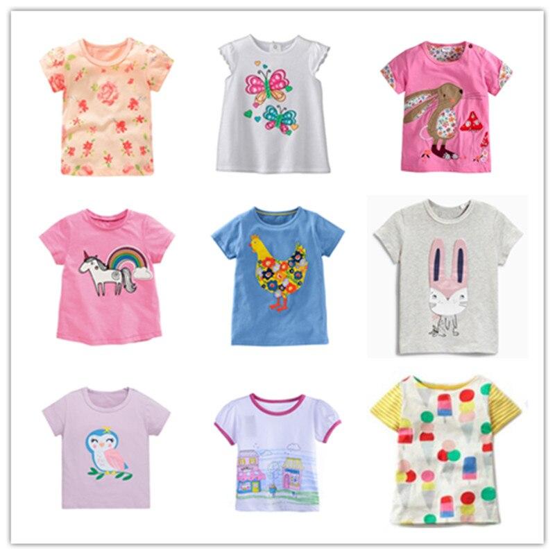 VIDMID Baby Girl T-shirt Tops Baby Girl T-shirt Big Girls Tees Shirts Children Girl 2-7 Years Summer Short Sleeves Cotton Tees