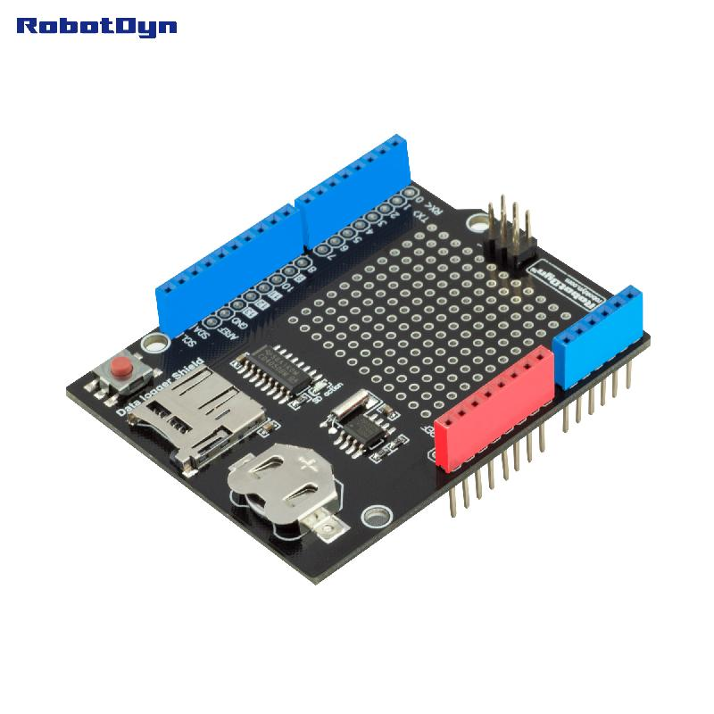 Data Logger Shield Compatible For Arduino, MicroSD-card + RTC  (Assembled) With Battery