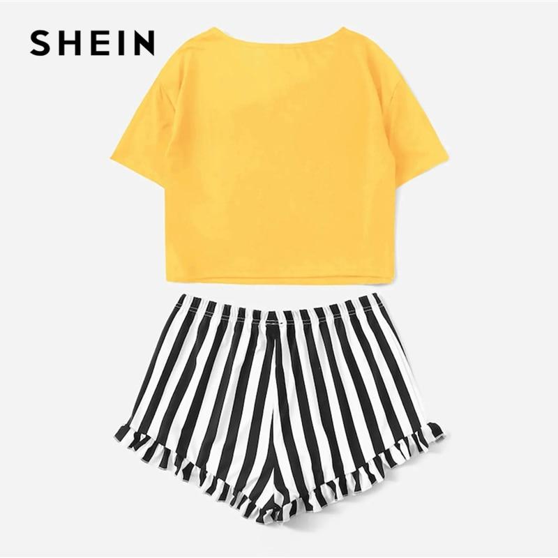 SHEIN Plus Size Graphic Print Tee And Striped Ruffle Shorts PJ Set 2019 Women Summer Casual Ruffle Hem Sleepwear Pajamas Set