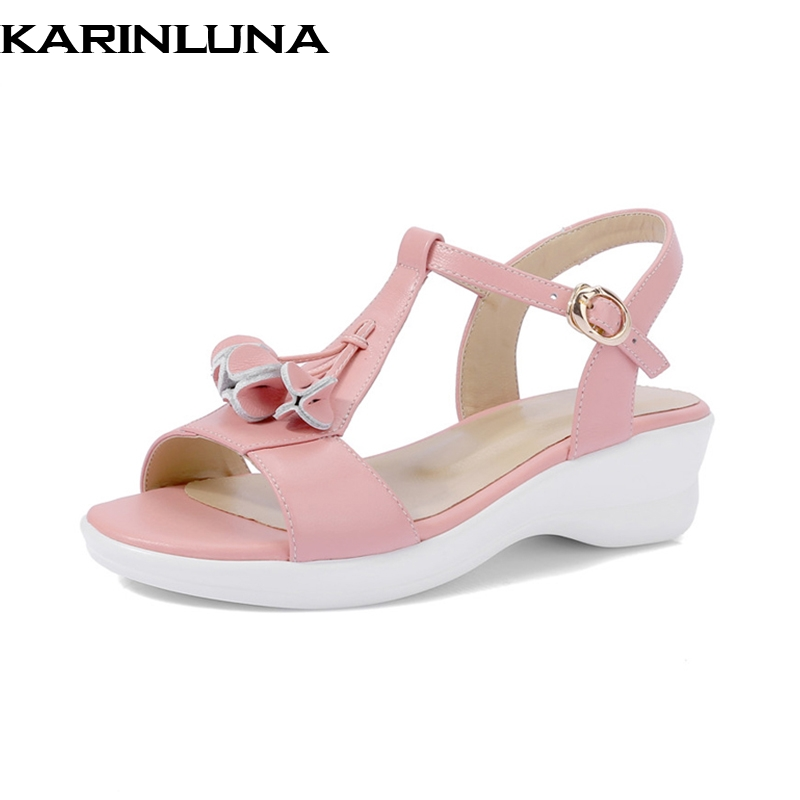 KarinLuna 2018 women shoes Genuine Leather Solid Wedges Buckle Strap Shoes Woman Casual Sweet Comfortable Summer Sandals phyanic 2017 gladiator sandals gold silver shoes woman summer platform wedges glitters creepers casual women shoes phy3323