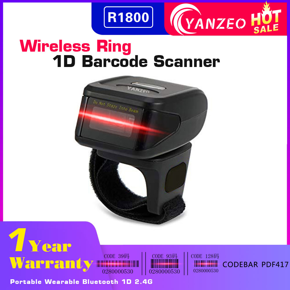 Yanzeo R1800 Portable Bluetooth Wearable Ring Finger Scanner Mini 1D Wireless Barcode Scanner