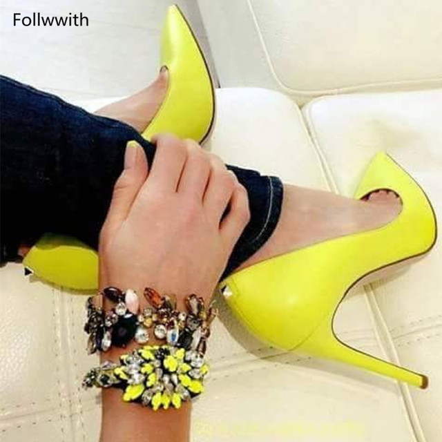 1d47c83ef9e US $67.55 33% OFF|Neon Yellow Patent Leather Stiletto High Heels Zapatos  Mujer Pointy Toe Women Pumps Dress Party Wedding Shoes For Women's-in  Women's ...