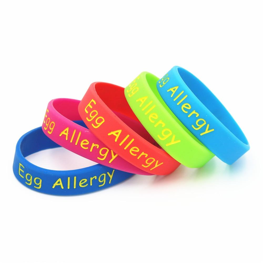 1 Pz Medical Alert Uovo Allergia Wristband Del Silicone Dei Capretti Formato Blu Verde Rosso Rosa Bracciale Bambini Piccoli Braceets & Braccialetti Regali Sh204